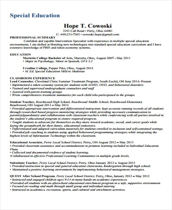 15+ Basic Education Resume Templates - PDF, DOC Free  Premium - behavior intervention specialist sample resume