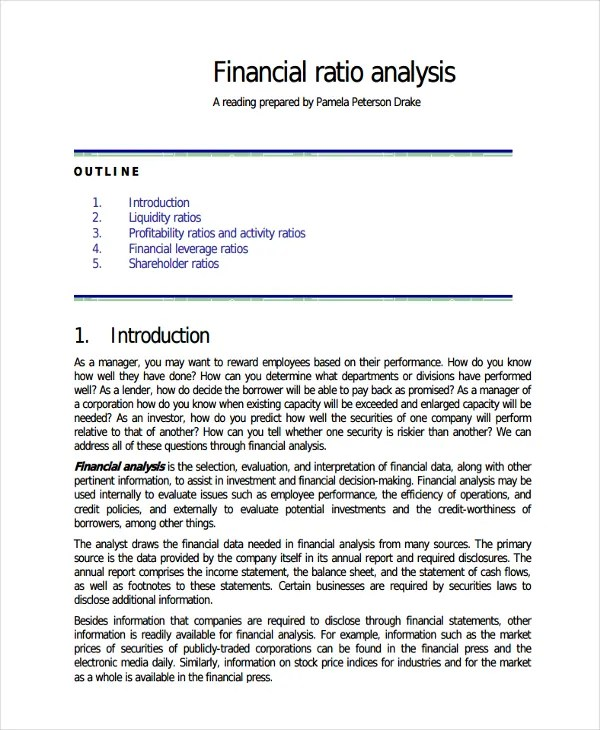 Company Financial Analysis Report Sample  NodeCvresume