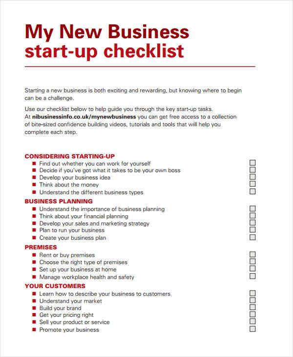 32 Checklist Templates in PDF Free \ Premium Templates - business startup checklist