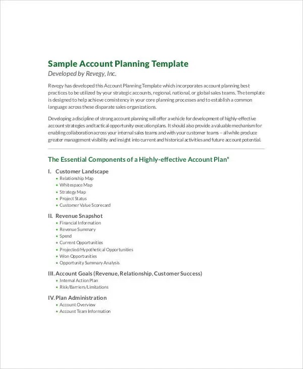 account plan templates – Account Plan Templates