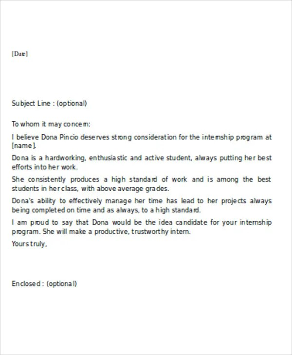 7+ Sample Internship Reference Letters - Free Samples, Examples