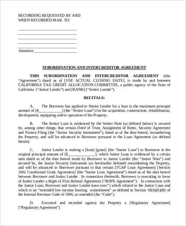 Intercreditor Agreement Templates - 6 Free Word, PDF Format - subordination agreement template
