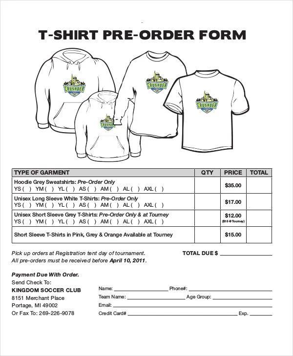 t shirt order form sample