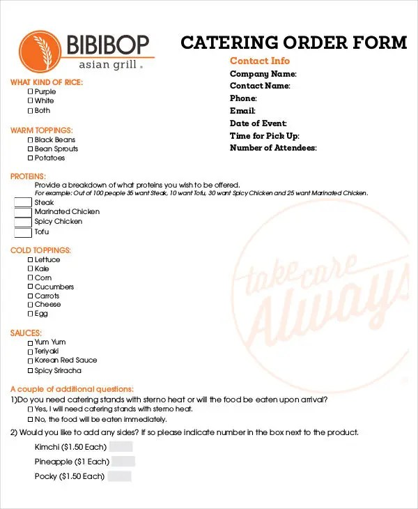 14+ Catering Order Forms - Free Samples, Examples, Format Download - catering order form