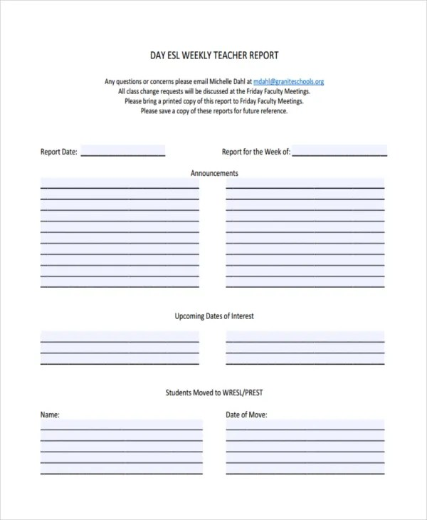 41+ Sample Weekly Report Templates Free  Premium Templates