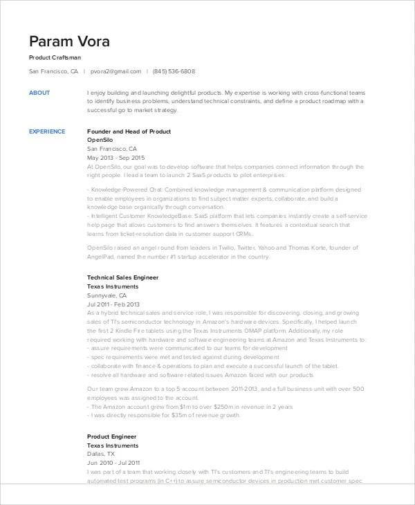 18+ Sales Resume Templates in PDF Free  Premium Templates