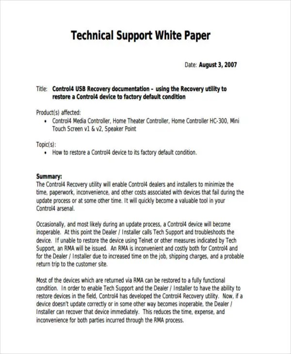 38+ Sample White Paper Templates Free  Premium Templates - point paper template