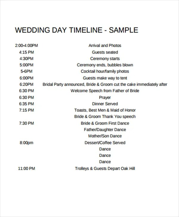 6+ Wedding Day Timeline Templates - Free Samples, Examples, Format