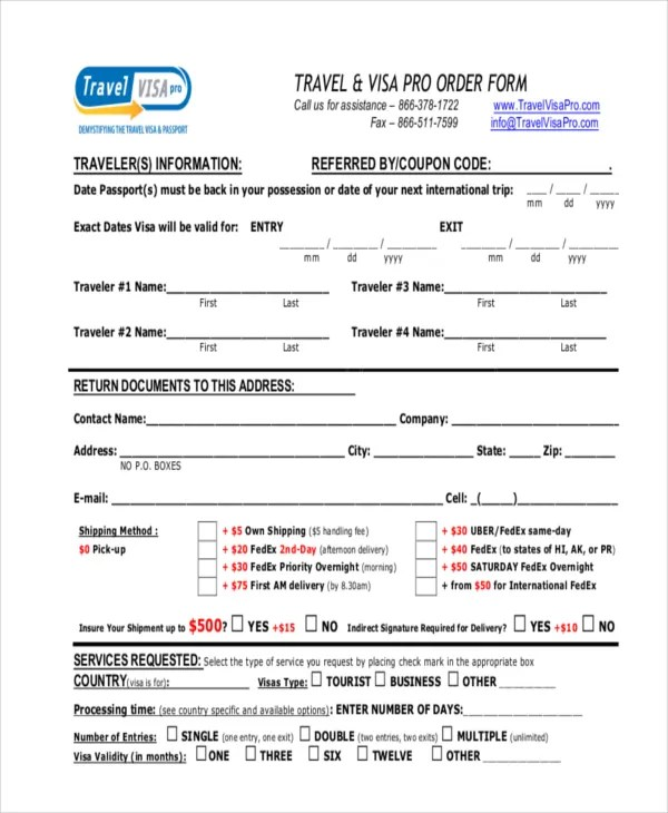 10+ Travel Order Forms - Free Samples, Examples, Format Download - travel agent form