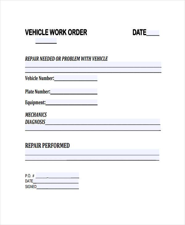 vehicle work order template
