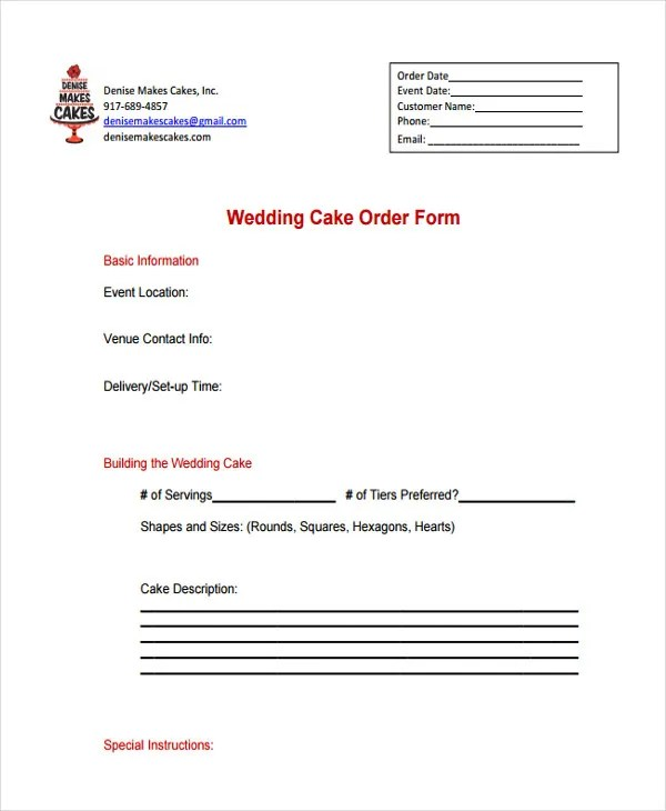 9+ Cake Order Forms - Free Samples, Examples, Format Download Free