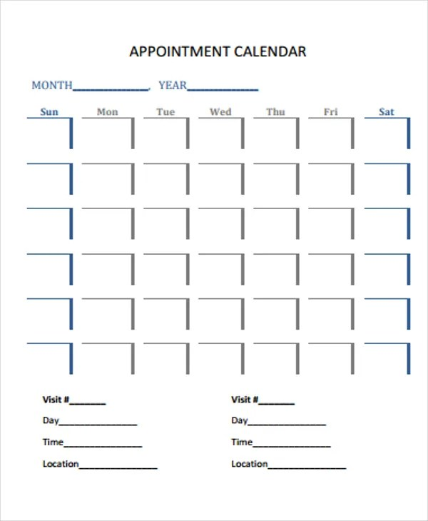 daily appointment sheet