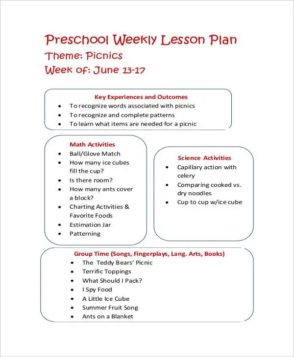 9+ Printable Preschool Lesson Plan Templates -Free Sample, Example - Preschool Lesson Plan Template