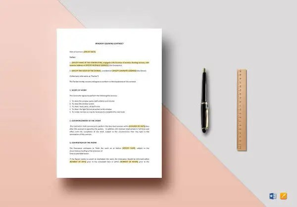 9+ Cleaning Contract Templates - Free Samples, Examples Format