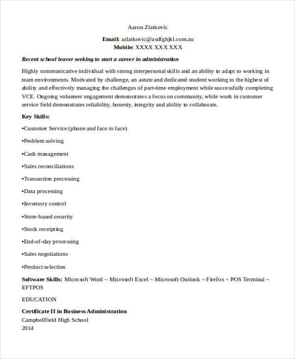 school leaver resume examples env 1198748 resume cloud