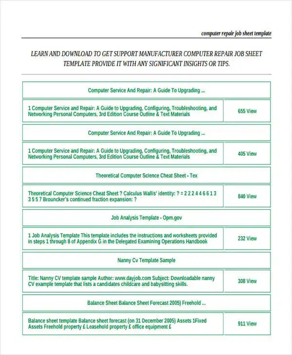 Computer Repair Job Sheet Template Pdf PDF Download - oukasinfo - job sheet templates