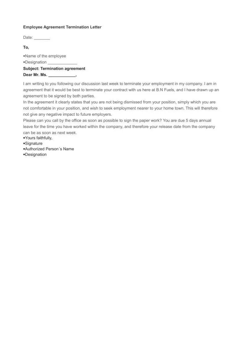 termination of employment letter to employee