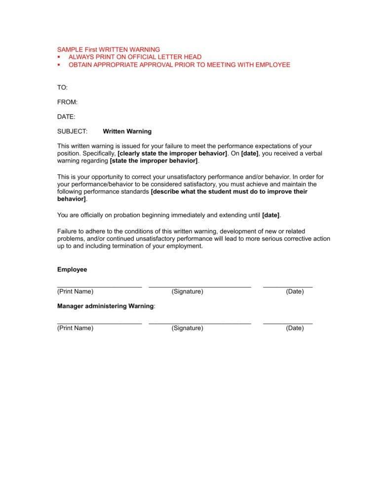written warning for employee