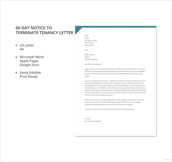 9+ Tenancy Termination Letters - Free Samples, Examples Download
