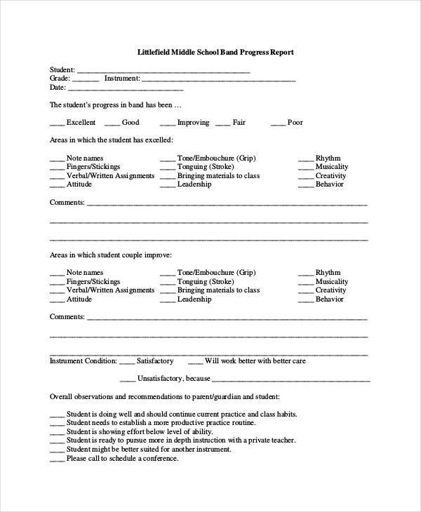 school progress report templates - Alannoscrapleftbehind