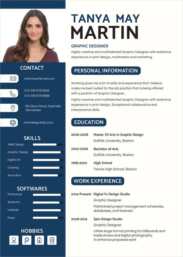 graphic design resume with photo template