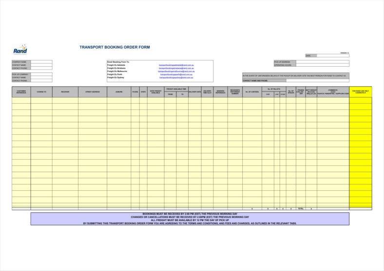 order sheet template excel