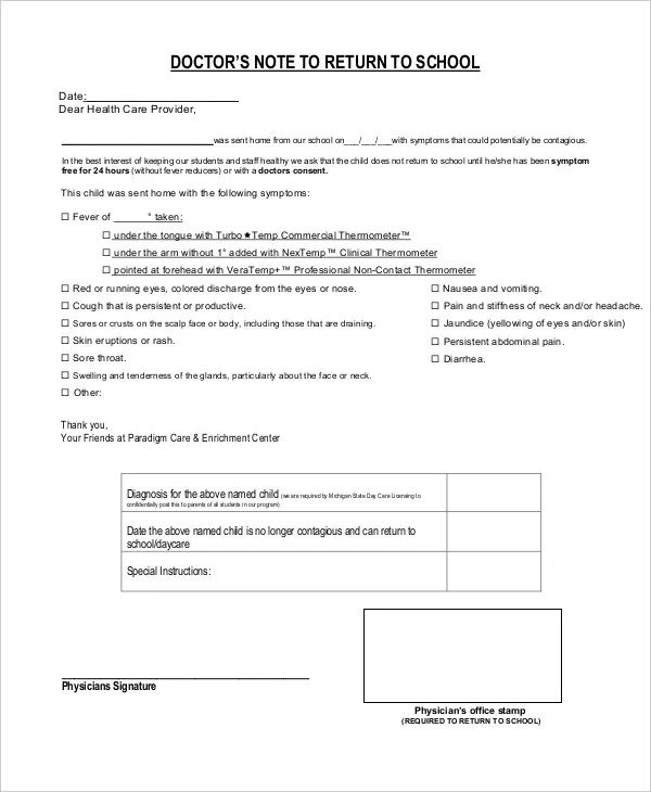 return to school note from doctor template