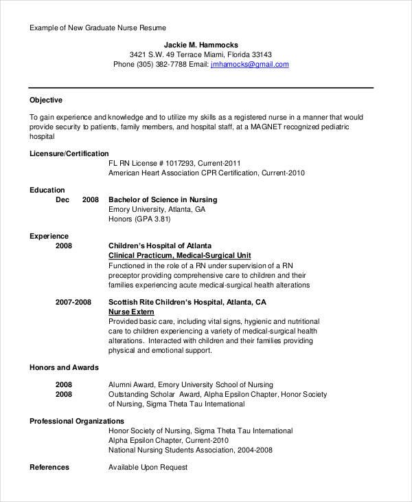 sample resume for graduate nurse program