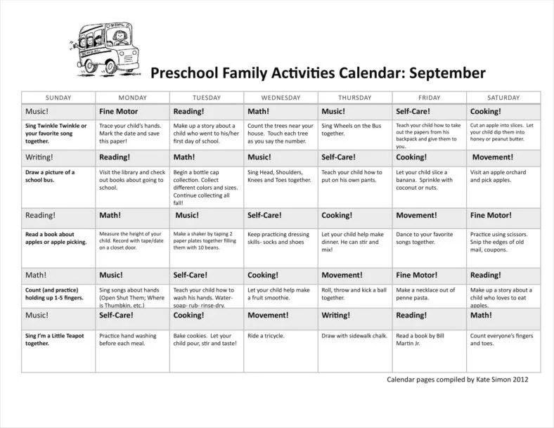 9+ Family Calendar Templates - Free Samples, Examples, Formats - sample activity calendar template