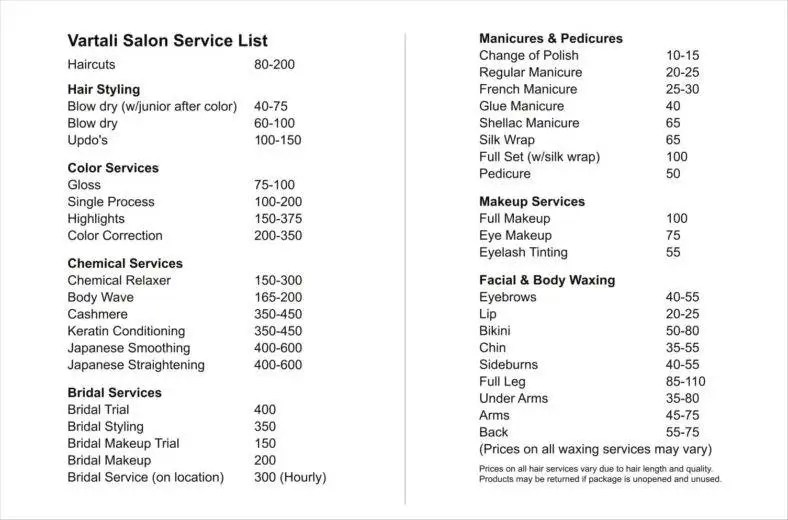 9+ Service Price List Templates Free Samples, Examples Formats - Service List Sample