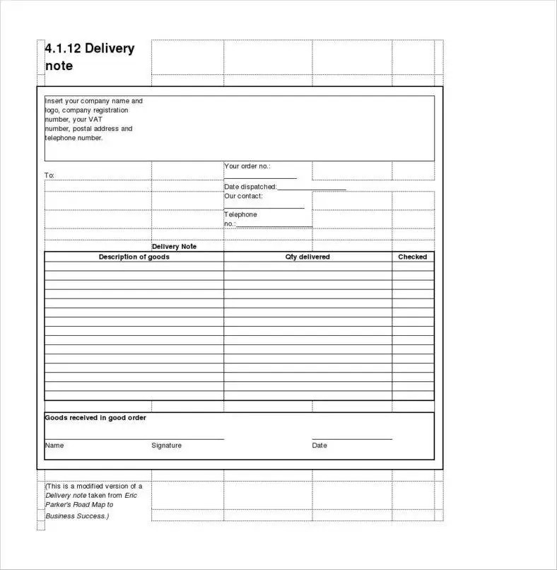Delivery Note Template logistics delivery note google search misc - delivery slip template