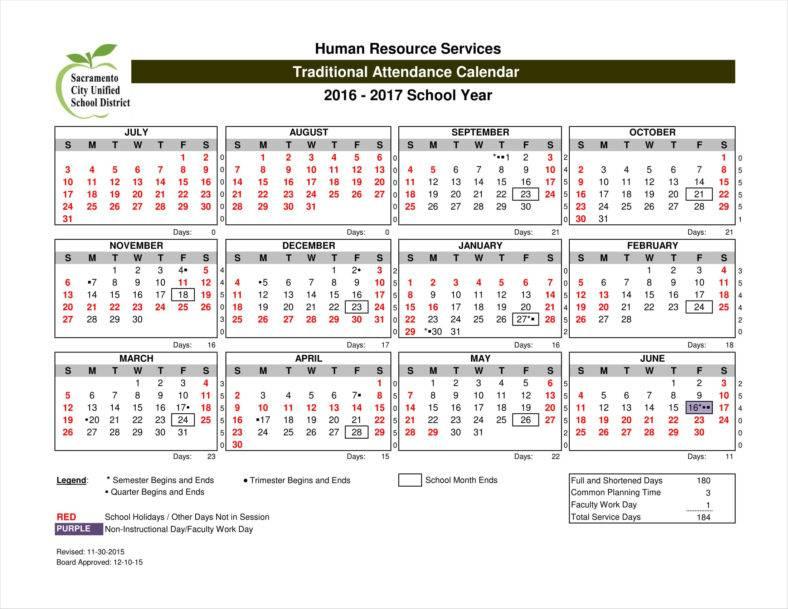 9+ Absence Calendar Templates Free PDF, Excel Format Download - attendance calendar template