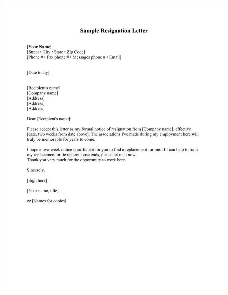 resignation letter form