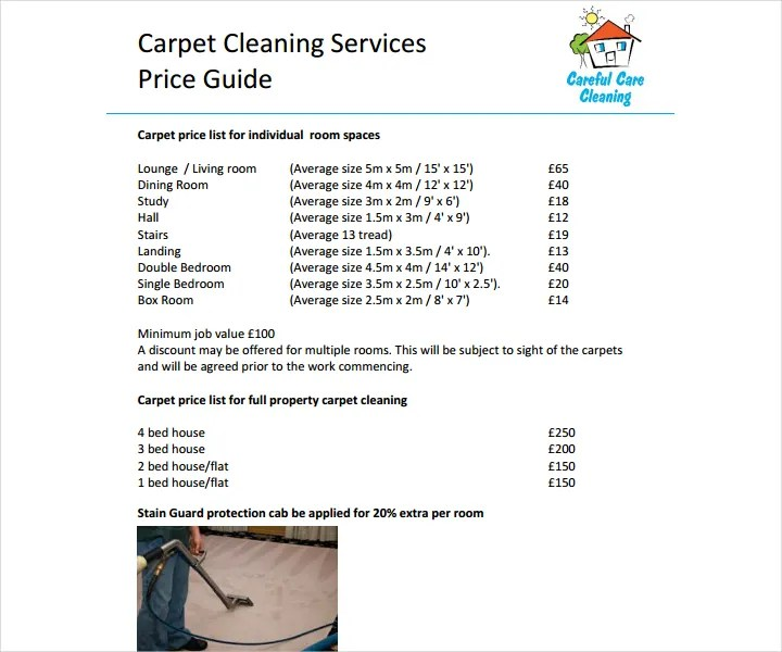 8+ Cleaning Price List Templates - Free Word, PDF, Excel Format