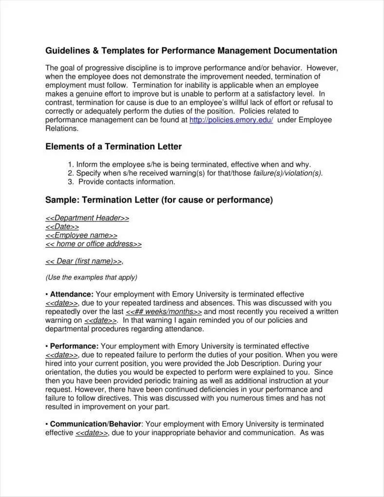 service termination letter