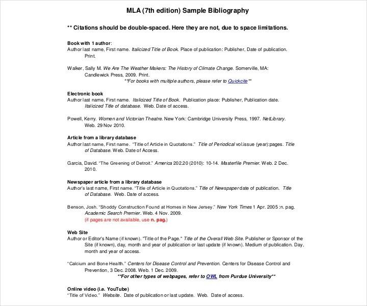 9+ MLA Bibliography Templates - Free PDF, DOC Format Downloads