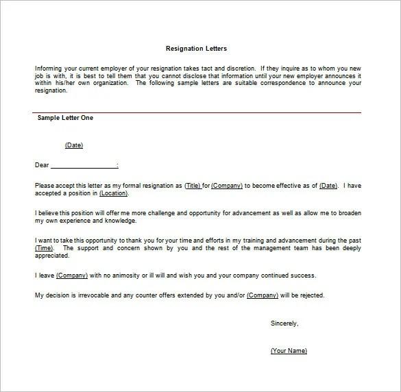 31+ Simple Resignation Letter Samples Free  Premium Templates