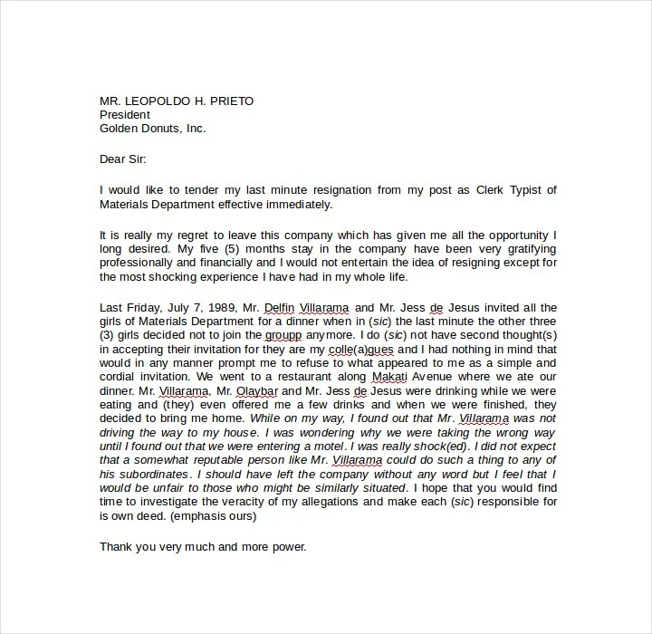 9+ Short Notice Resignation Letters - Free PDF, DOC Format Downloads - short notice resignation letter