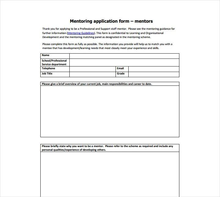 11+ Mentor Application Form Templates - Free Word, PDF Format - sample form