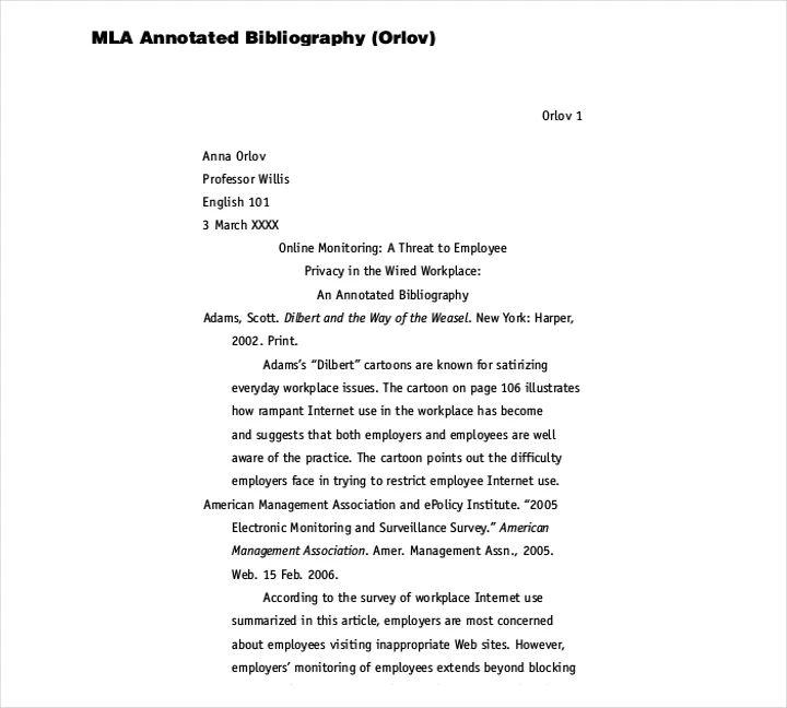 sample mla bibliography