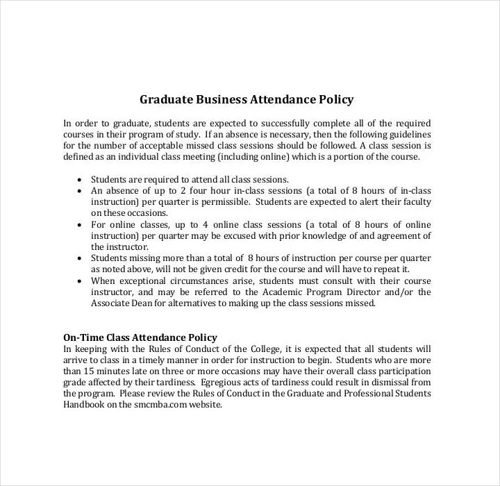 Absenteeism Policy Template - Costumepartyrun