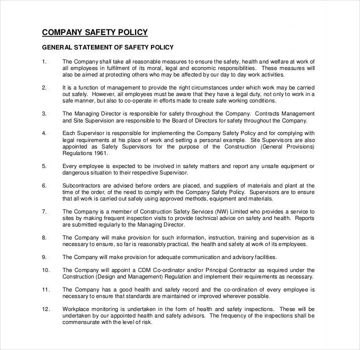 2+ General Safety Policy Templates - PDF Free  Premium Templates