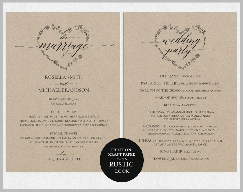 wedding booklet template