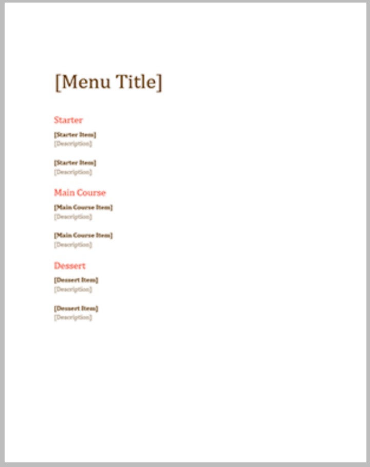 beverage menu template