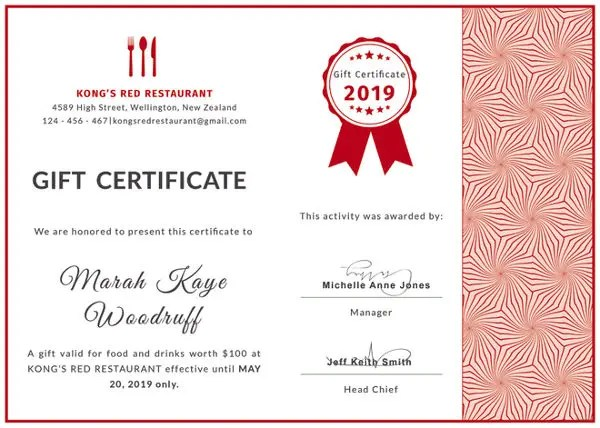 Food Gift Certificate Template editable printable doc restaurant