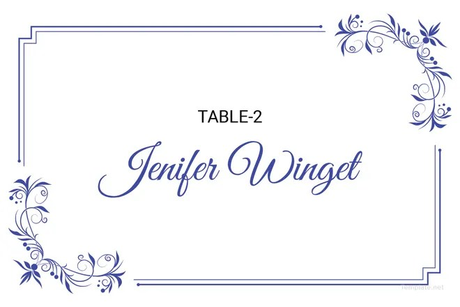 5+ Printable Place Card Templates  Designs Free  Premium Templates