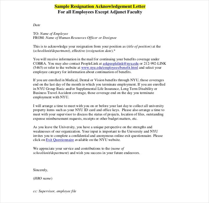 9+ Resignation Acknowledgement Letter Templates - PDF, Word Free