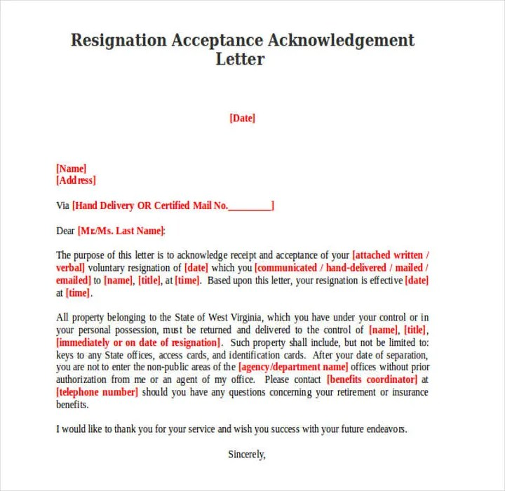 9+ Resignation Acknowledgement Letter Templates - PDF, Word Free - accepting resignation