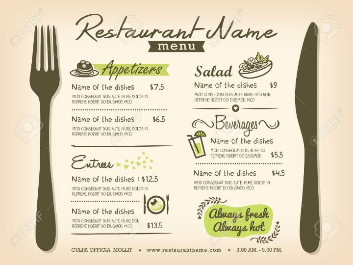 how to make a restaurant menu on microsoft word
