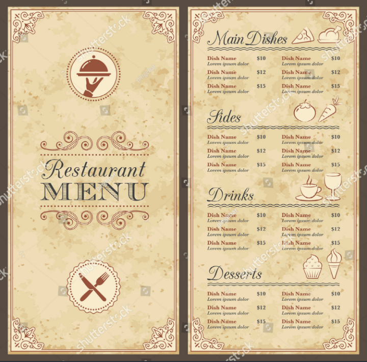 blank fancy menu template free download